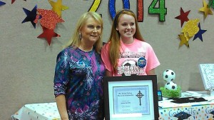 Jamie Gamble - recipient of the first Emma Cathey Memorial Scholarship, presented by Lisa Cathey Parker